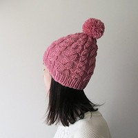 Hand Knitted Cable Chunky Beanie in Rose, Womens Pom Pom Hat, Beanie with Pom Pom, Seamless, Wool Blend, Winter Fall Accessories