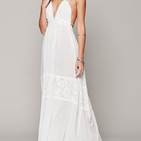 White V-Neckline Halter Tie Bare Back Maxi Dress