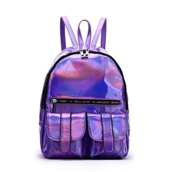 Purple Hologram Dual Pocket Backpack with Rainbow Zipper Back To School