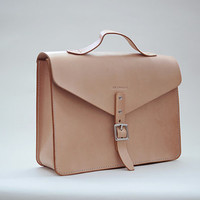 Leather Bag / Leather Briefcase / Leather Tote / Vintage Business Bag / Leather Shoulder Bag Nature