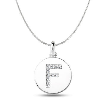 """F"" Diamond Initial  14K White Gold Disk Pendant (0.11ct)"