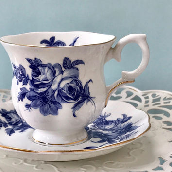 Mismatched Tea Cup Set, Blue and White, Staffordshire Cup, Royal Albert Saucer, Vintage Teacups, Cottage Chic