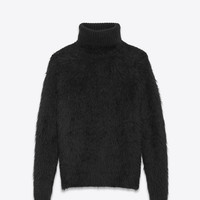 Turtleneck Sweater in Black Mohair and Wool