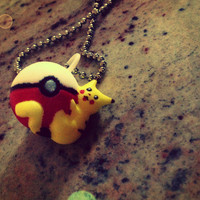 Pikachu on a Pokeball Charm