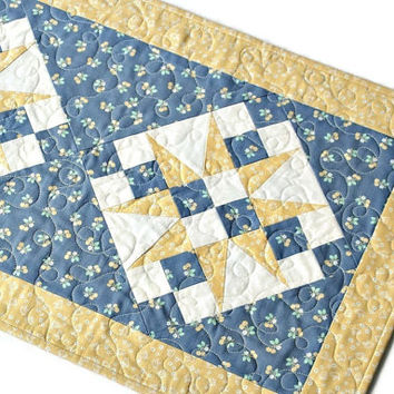 Quilted Table Runner, Blue Yellow Table Topper, Chicken Flowers Cherry, Summer Table Quilt, Country Home Decor, Quiltsy Handmade
