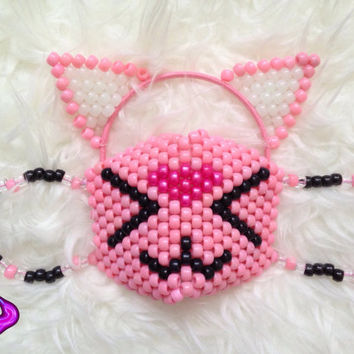 Cat Mask and Ears Kandi Set, Kitten Cat Mask, Kandi Cat Ears, Kandi Ears, Glow in the Dark Kandi, EDM Rave Gear, Rave Wear, Cat Ear Headband