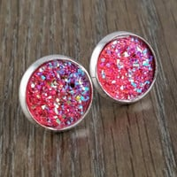 Druzy earrings- Ab hot pink silver tone stud druzy earrings