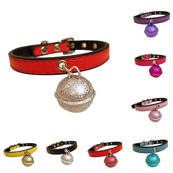 Bell Pendant Cute Faux Leather Dog Cat Collar Pin Buckle Necklace Pet Supplies