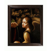 OverstockArt LDV2086-FR-EDCHG20X24 The Virgin of the Rocks by Leonardo Da Vinci: 20 x 24 Oil Painting Reproduction with Heritage Wood Frame