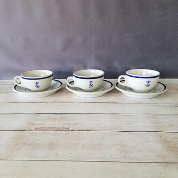 US navy officer wardroom fouled anchor restaurantware/ US Navy coffee cups/ Anchor tea cups and saucers/ Fouled Anchor/ Anchor/ Nautical