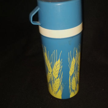 Aladdin Soup Thermos Agripro Blue Yellow Wheat Design