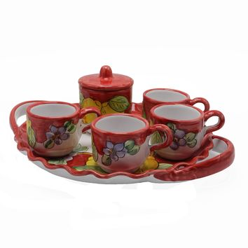Vietri Lemons Espresso Cup Set With Tray, Sugar Cup & Four Espresso Cups