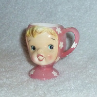 Vintage 1950s Napco Miss Cutie Pie Pink Girl Egg Cup Pixie Lady Mid-Century Modern Kitsch Kitchen Holt Howard