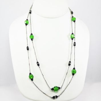 Black & Green Glass Beaded Necklace, German Glass Beads, Late Art Deco 40 inch Length Flapper Silver Tone Chain Links, Vintage 1930s 1940s