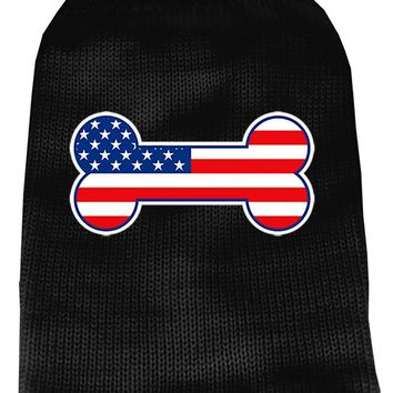 Bone Flag Usa Screen Print Knit Pet Sweater Sm Black