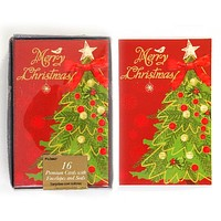 Merry Christmas Boxed Christmas Cards - 16 Count - 12 Units