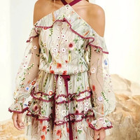 Polychrome Embroidery Floral Cold Shoulder Ruffle Sheer Mesh Dress