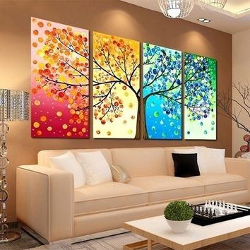 4 Piece Four Seasons Tree Wall Art Decoration Canvas Painting for Home Living Room Wedding Decoration Mom Dad Friends Lover Gift