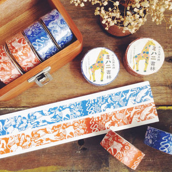 Classiky Friend Orange Blue washi masking tape mt