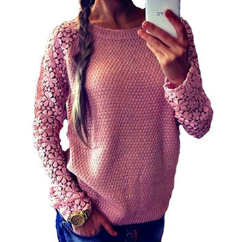 Spring Autumn Fashion Women 2016 Long Sleeve Lace Patchwork Casual Pullover Ladies Sweaters Plus Size clothes