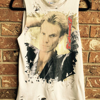 STING cropped, destroyed tank, band tee, concert tee size medium, distressed clothes