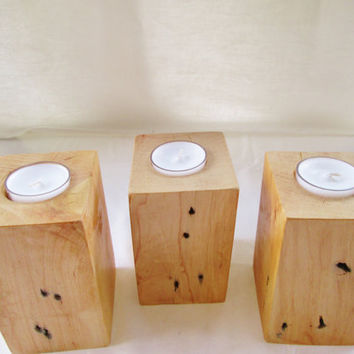 Block Candle Holders, Wood Candle Holders, Candle Holders