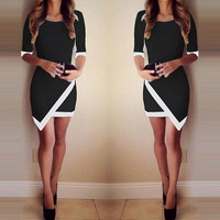 Sexy Women Summer Bandage Bodycon Evening Party Irregular Mini Dress = 5617188673