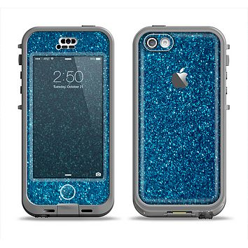 The Blue Sparkly Glitter Ultra Metallic Apple iPhone 5c LifeProof Nuud Case Skin Set
