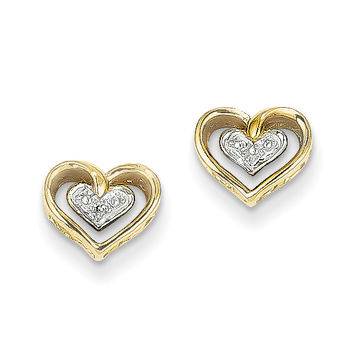 14k Gold Diamond Heart Post Earrings XE2320AA