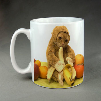 Monkey Cat! Eating a Banana Mug Funny Meme