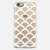 White Scallop Pattern Transparent iPhone 6 case by Organic Saturation | Casetify