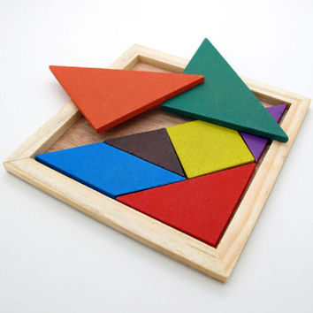 Funny Wooden Tangram Brain Teaser Puzzle Educational Developmental Kids Toy 3CAU