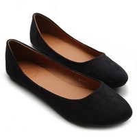 Ollio Womens Shoe Ballet Light Faux Suede Low Heels Flat(10 B(M) US, Black)