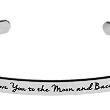 quotI Love You to the Moon and Backquot Inspirational Messaged Cuff Bracelet Bangle