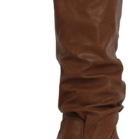 Tan Slouchy Faux Leather Knee HIgh Flats Boots Zuluu Tan PU