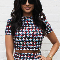 Blurred Dogtooth Turtle Neck Crop Top in Multi