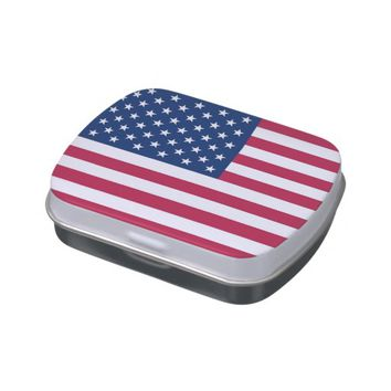 Patriotic, special candy tins with Flag of USA