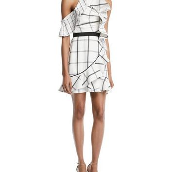 Self-Portrait Check Draped Frill Mini Dress