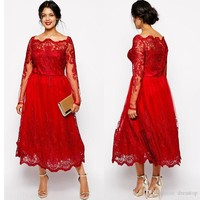 Stunning Red Plus Size Evening Dresses Sleeves Square Neckline Lace Appliqued A-Line Prom Gowns Tulle Tea-Length Formal Dress Online with $132.62/Piece on Dresstop's Store | DHgate.com