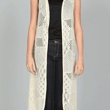 Sweet Recollection Crochet Duster Long Vest In Cream | Thirteen Vintage