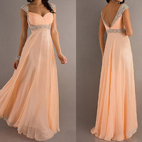 peach prom dress, long prom dress, cheap prom dress, formal prom dress, chiffon prom dress, RE035