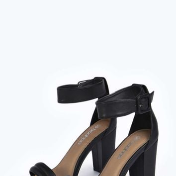 Roxi Buckle Ankle Strap Block Heel Two from boohoo