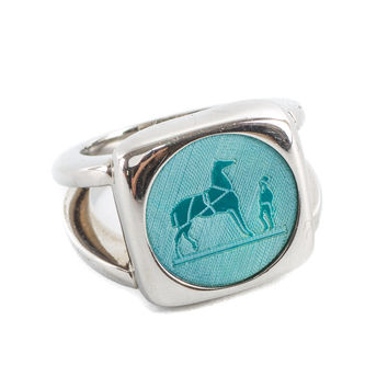 Authentic Hermes Horse Design Blue Corozo Stone Ring Size 51 Us 5.5