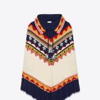 SAINT LAURENT FAIRE ISLE PONCHO IN NAVY BLUE, IVORY, RED, YELLOW AND GREEN WOOL, MOHAIR AND POLYAMIDE | YSL.COM