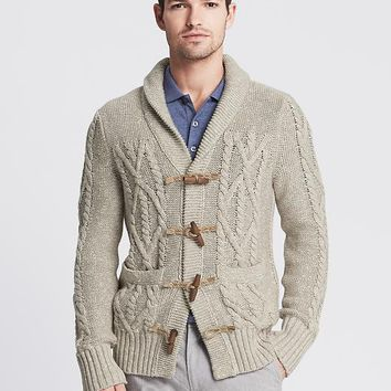 Banana Republic Mens Heritage Cable Knit Toggle Cardigan