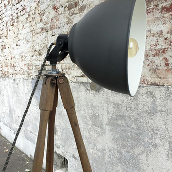 Wood Floor Lamp, Wood Tripod, Wood Tripod Lamp, Surveyors Tripod, Tripod Floor Lamp, Industrial Floor Lamp, Reclaimed Wood Lamp