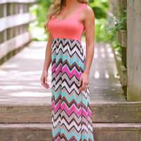 Bachelorette Chevron Maxi Dress - Coral