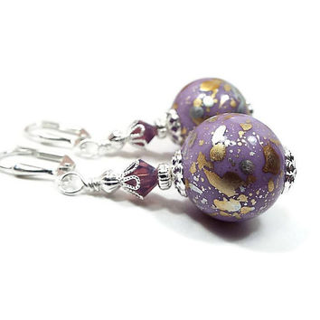 Large Drop Earrings, Purple Earrings, Lavender Purple, Metallic Gold Silver Splash Splatter, Silver Plated, Clip on Earrings Lever Back Hook