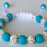 Shamballa Bracelet, Turquoise Polymer Clay Beads, 10mm White Crystal Pave Beads. Blue and White