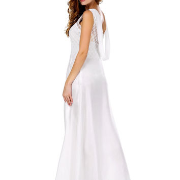 V-neck Sleeveless Backless Sheath A-line Maxi Dress